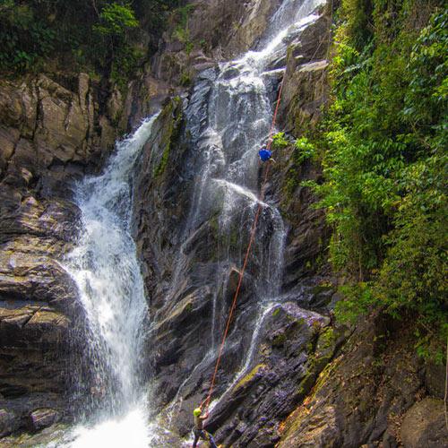 Belize waterfall rappel